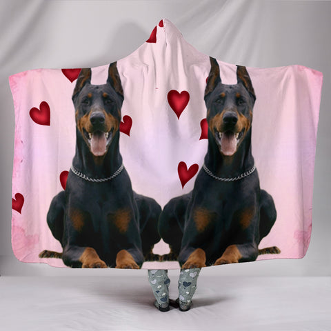 Doberman Pinscher Red Heart Print Hooded Blanket