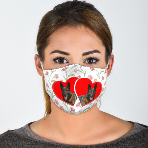 Malinois Dog Floral Print Face Mask
