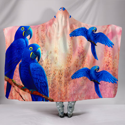 Hyacinth Macaw Parrot Print Hooded Blanket
