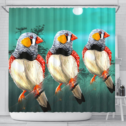 Zebra Finch Bird Art Print Shower Curtains