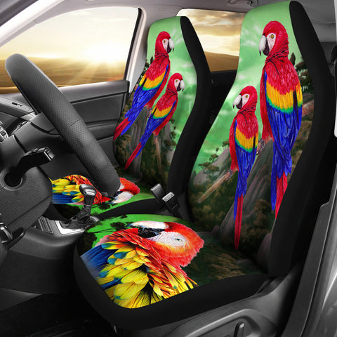 Lovely Scarlet Macaw Parrot Print Car Seat Covers