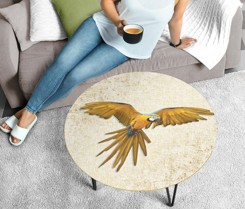 Blue And Yellow Macaw Print Circular Coffee Table