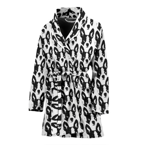 Boston Terrier Dog Pattern Print Women's Bath Robe
