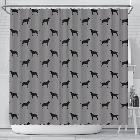 Curly Coated Retriever Dog Pattern Print Shower Curtains