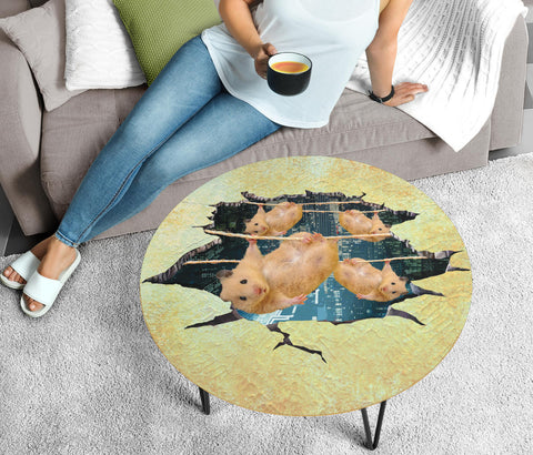 Golden Hamster Hanging Print Circular Coffee Table