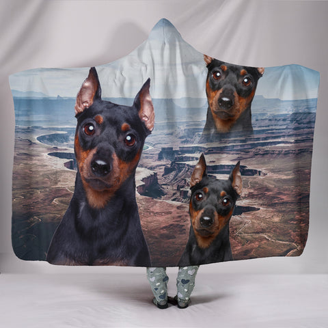 Cute Miniature Pinscher Print Hooded Blanket