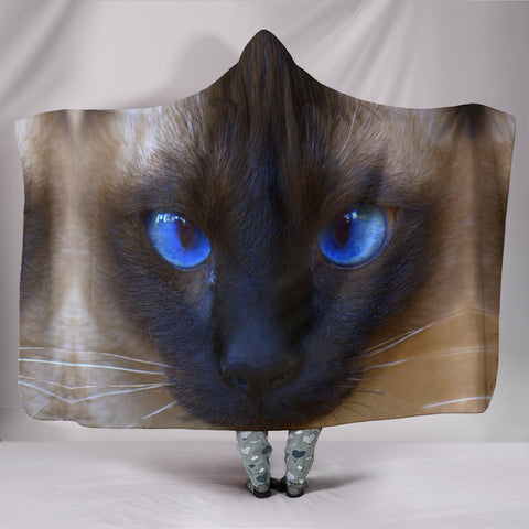 Siamese cat Face Print Hooded Blanket