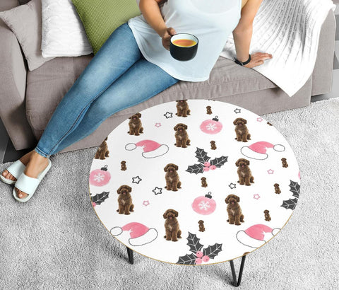 Spanish Water Dogs Patterns Print Circular Coffee Table