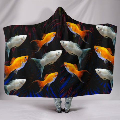 Molly Fish Print Hooded Blanket