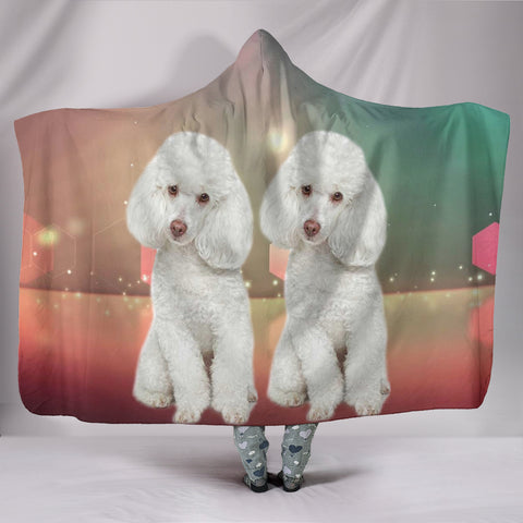 Cute Poodle Dog Print Hooded Blanket
