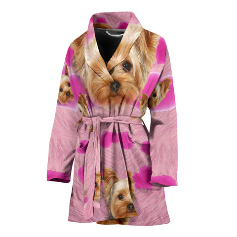 Yorkie On Pink Print Women's Bath Robe