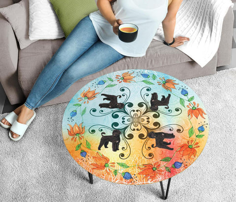 Portuguese Water Dog Print Circular Coffee Table