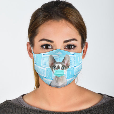 Cute Devon Rex Cat Print Face Mask
