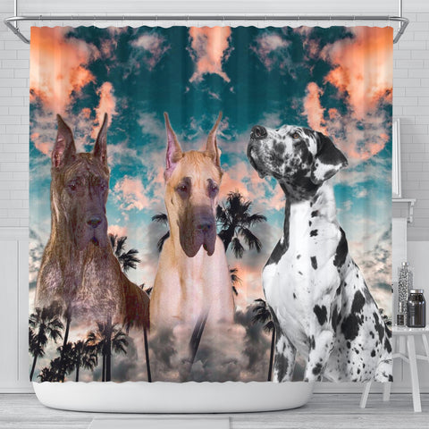 Great Dane Print Shower Curtains