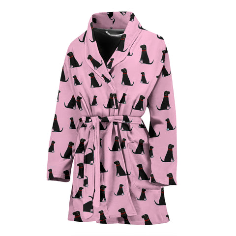 Black Labrador On Pink Print Women's Bath Robe