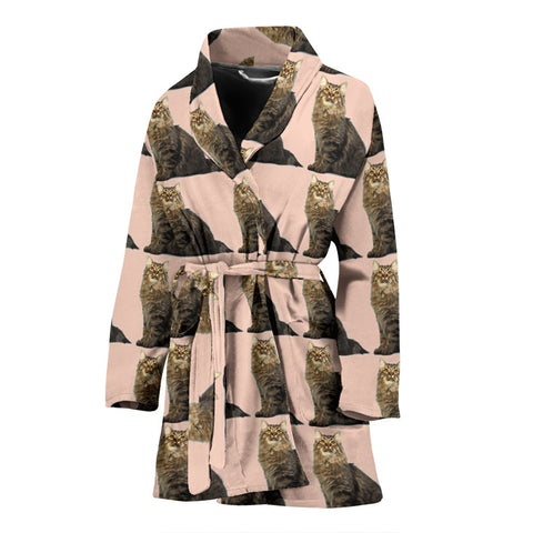 American Bobtail Cat Pattern Print Women's Bath Robe