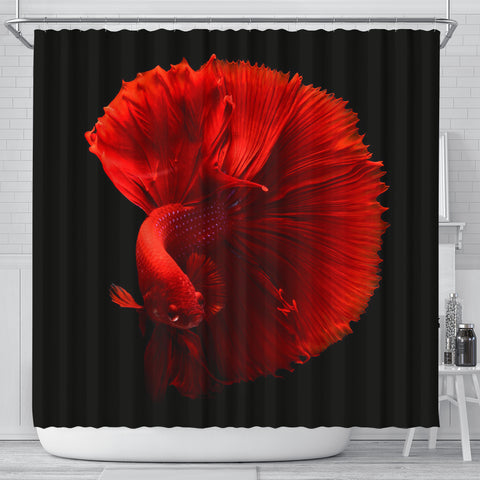 Red Siamese Fighting Fish (Betta Fish) Print Shower Curtains