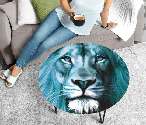 Lion Art Print Circular Coffee Table