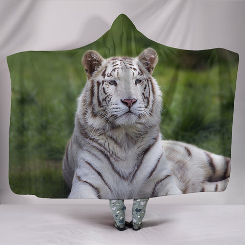 White Bengal Tiger Print Hooded Blanket