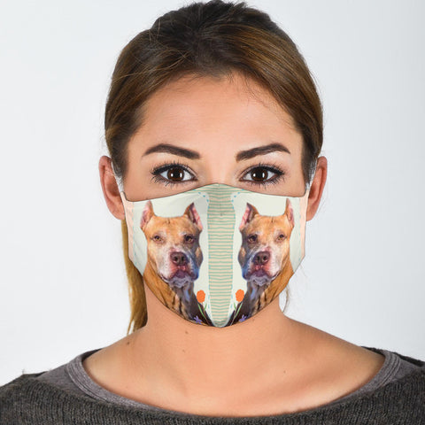 Cute American Pit Bull Terrier Print Face Mask