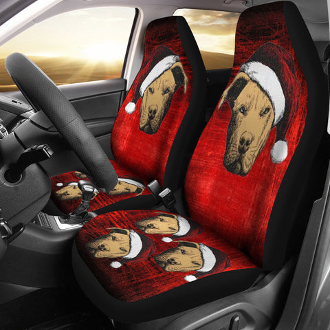 Pit Bull Terrier On Red Print Car Seat Covers
