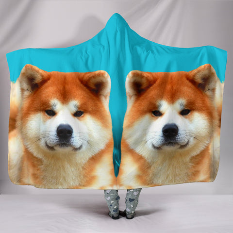 Cute Akita Dog Print Hooded Blanket