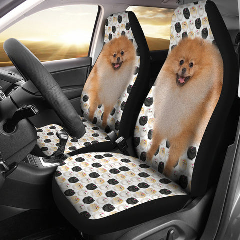 Black White Pomeranian Dog Patterns Print Car Seat Covers