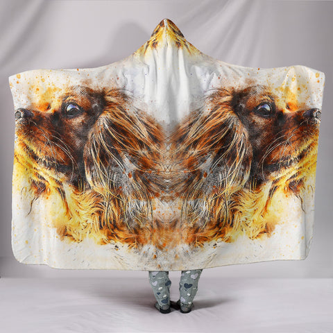 Caveliar King Charles Spaniel Dog Art Print Hooded Blanket