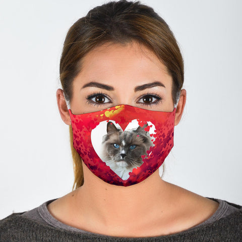 Ragdoll Cat On Heart Print Face Mask