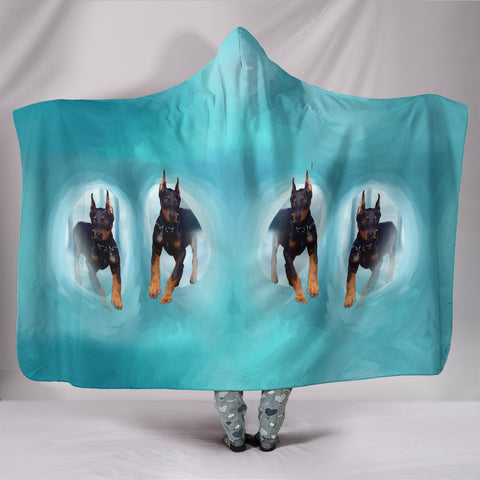 Amazing Doberman Pinscher Dog Print Hooded Blanket