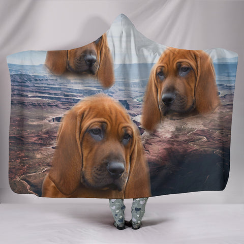Cute Redbone Coonhound Print Hooded Blanket