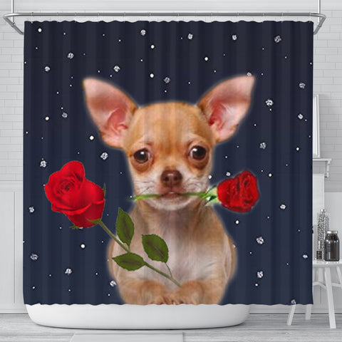 Chihuahua Dog With Rose Print Shower Curtain