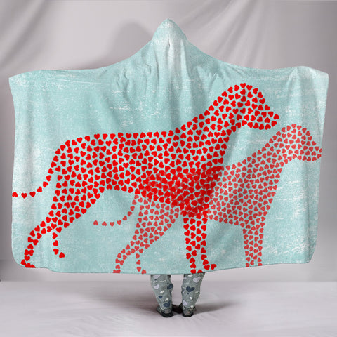 Lovely Heart Designed Dog Print Hooded Blanket
