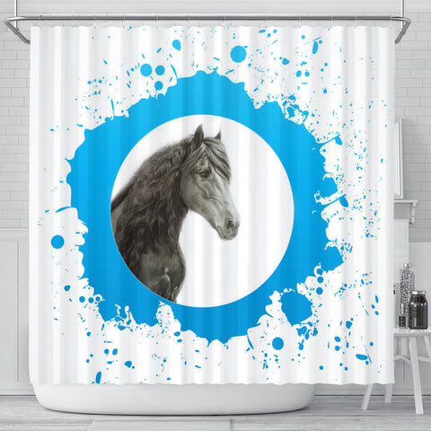Friesian horse Print Shower Curtain