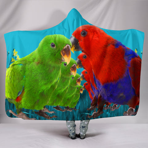 Eclectus Parrot Print Hooded Blanket