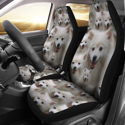American Eskimo Dog In Lots Print Car Seat Covers
