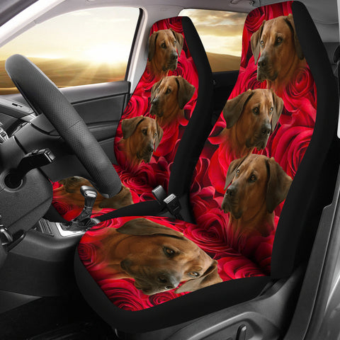 Rhodesian Ridgeback On Rose Print Car Seat Covers