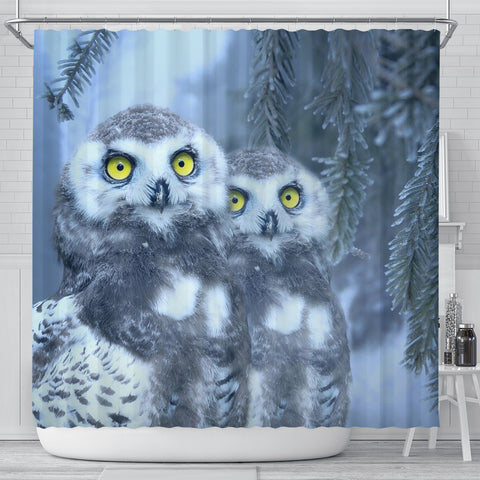 Amazing Snow Owl Bird Print Shower Curtains