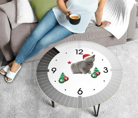 Cute Chartreux Cat Print Circular Coffee Table