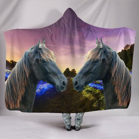 Tennessee Walker Horse Print Hooded Blanket