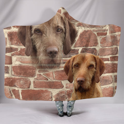 Cute Wirehaired Vizsla Dog Hooded Blanket