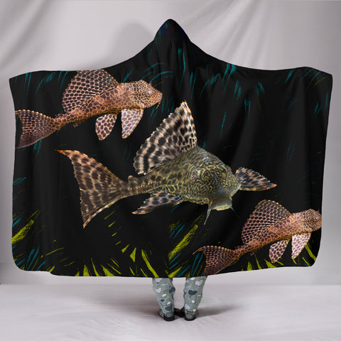 Suckermouth CatFish Print Hooded Blanket