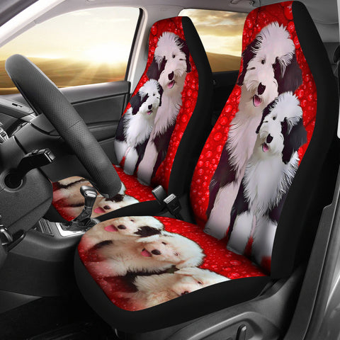 Old English Sheepdog Print Car Seat Covers