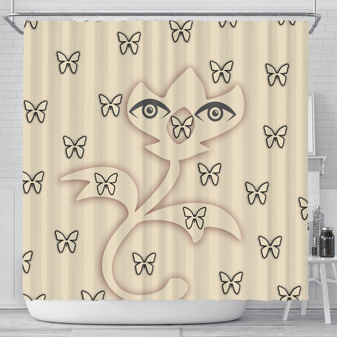 Butterfly Eyes Print Shower Curtain