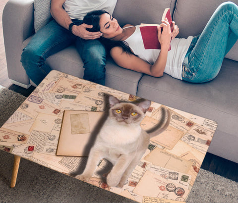 Cute Burmese Cat Print Rectangular Coffee Table