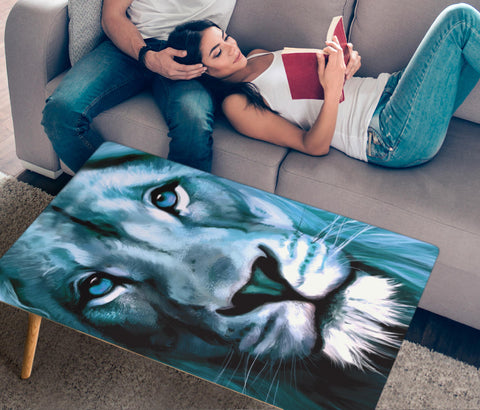 Lion Art Print Rectangular Coffee Table