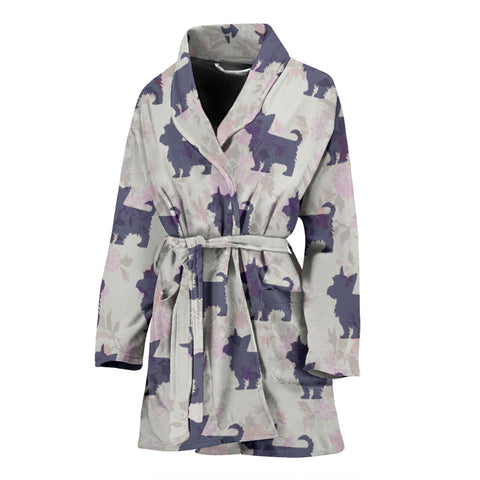 Silky Terrier Dog Pattern Print Women's Bath Robe