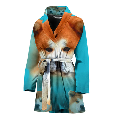 Cute Akita Dog Print Women's Bath Robe