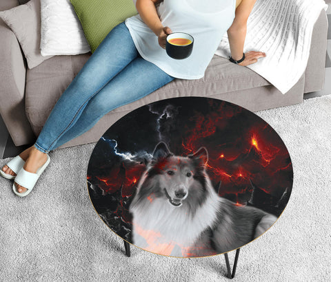 Cute Collie Print Circular Coffee Table