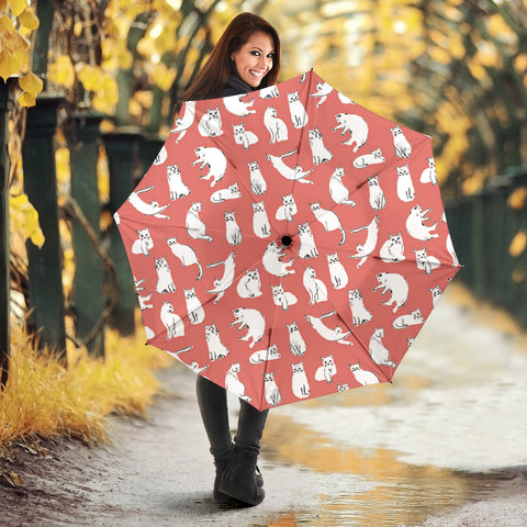 White Persian Cat Pattern Print Umbrellas